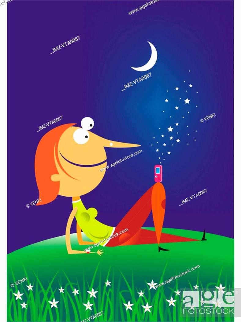 Stock Photo: A woman relaxing under the stars with a cellular phone on her knee.