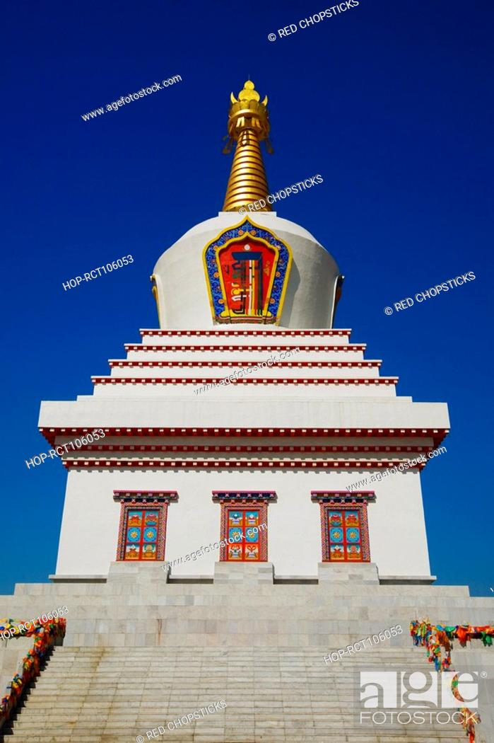 Stock Photo: Low angle view of a pagoda, Bai Ta, Hohhot, Inner Mongolia, China.