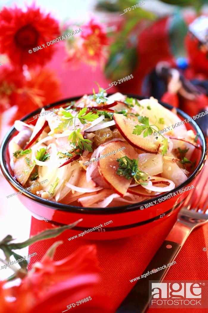 Stock Photo: Plum and onion salad.