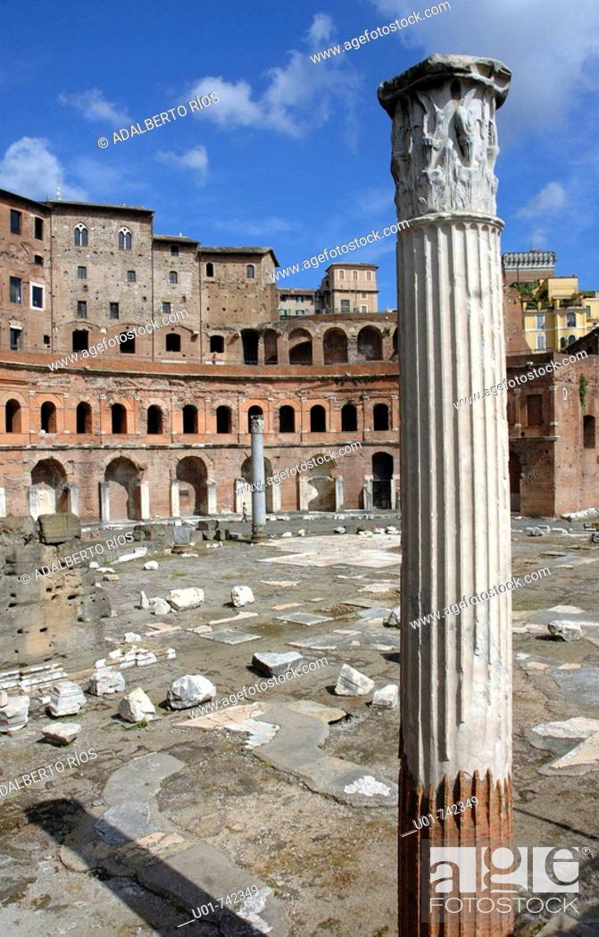Stock Photo: Trajan's market with a column at front.