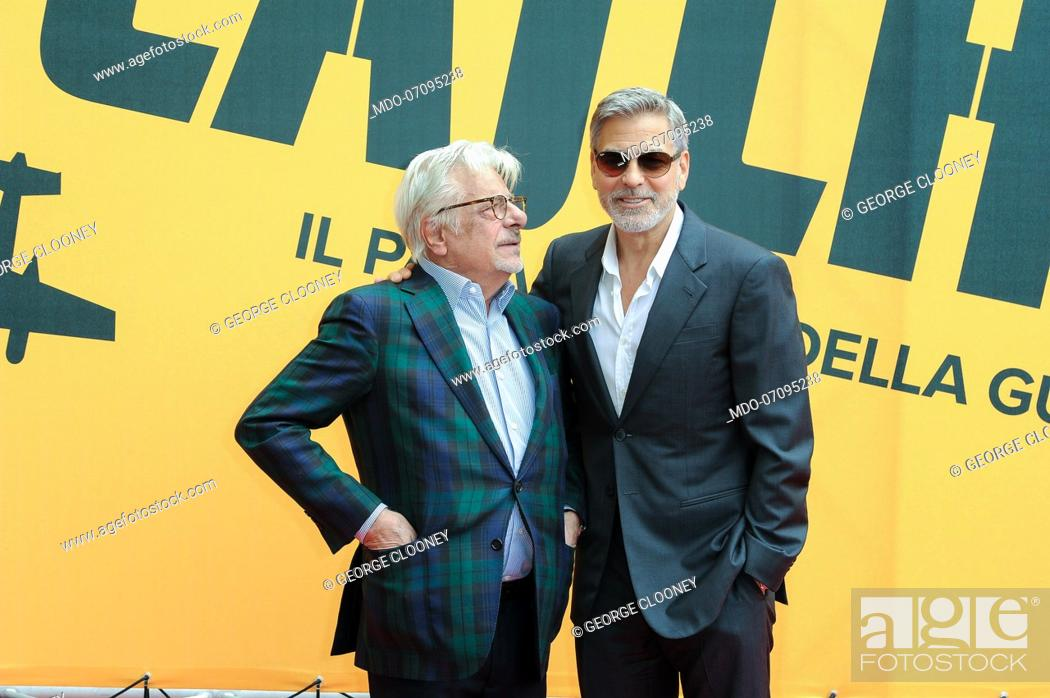 Stock Photo: American actor George Clooney and Italian actor and director Giancarlo Giannini attend the Sky TV series Catch-22 photocall.