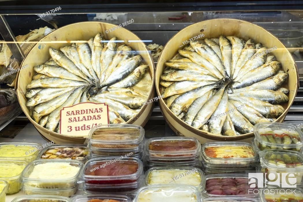 Stock Photo: Salted sardines for sale in market. Valencia, Spain.