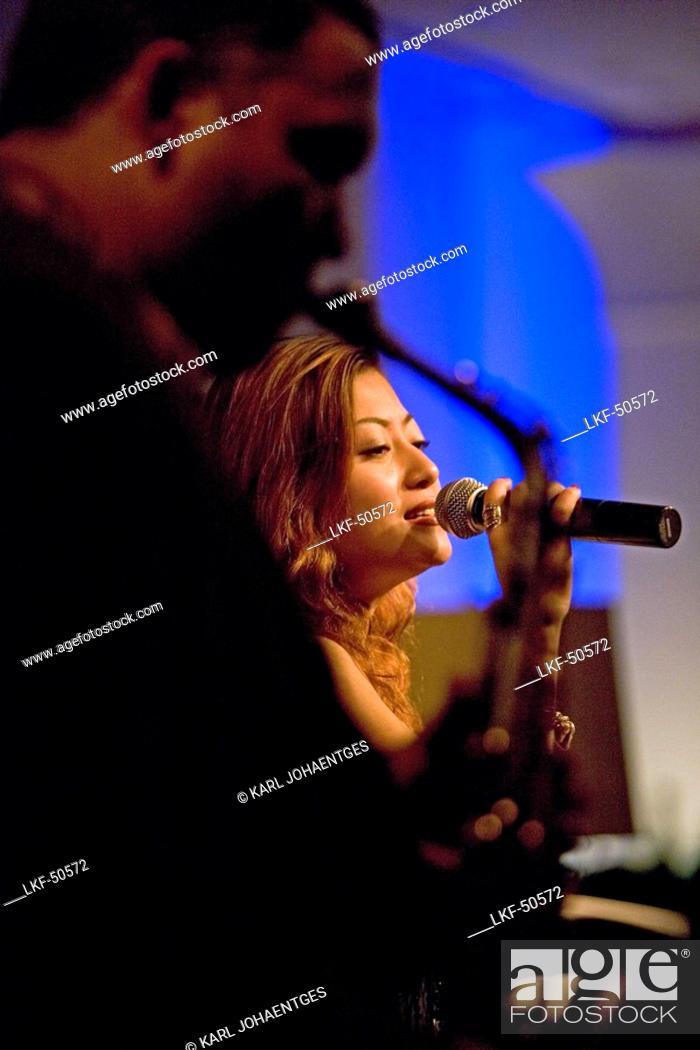singer, Miranda Li, Bar, Four Seasons Hotel, Saxophone, music, Stock