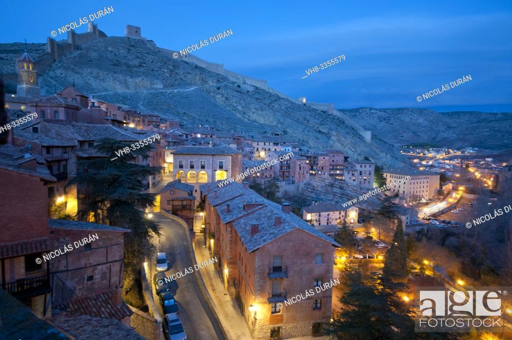 Stock Photo: Albarracín night vision, Teruel, España.
