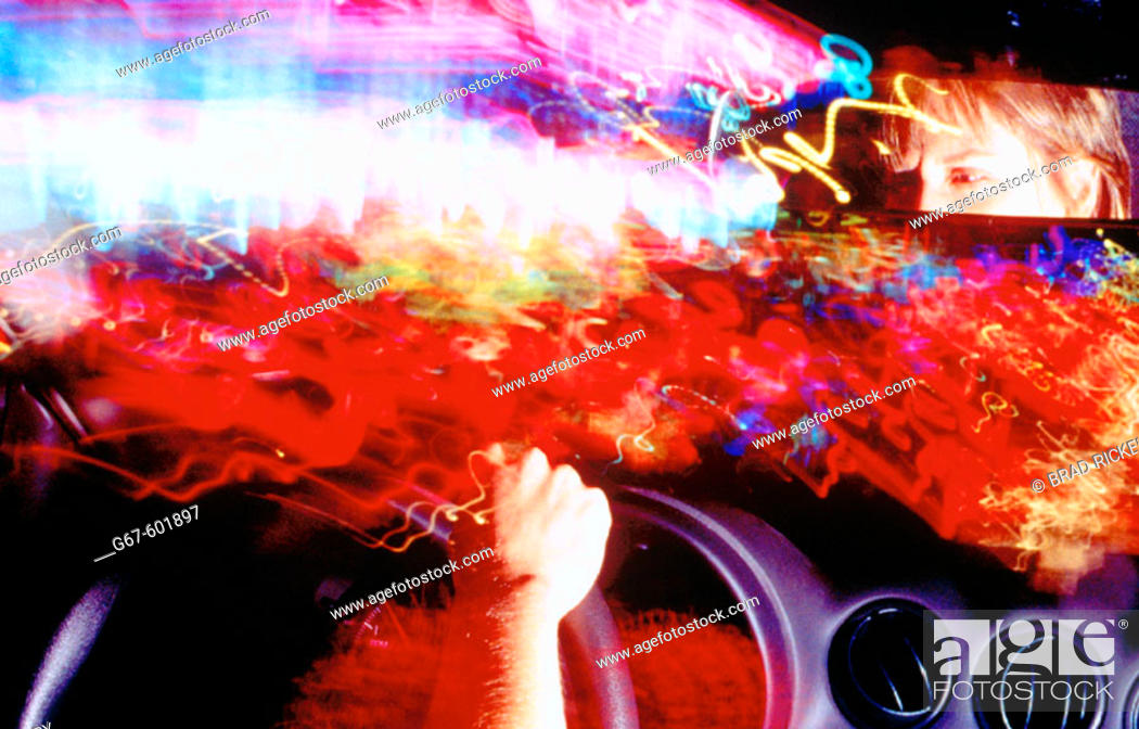 Stock Photo: City light series, driving at Times Square. New York City. USA.