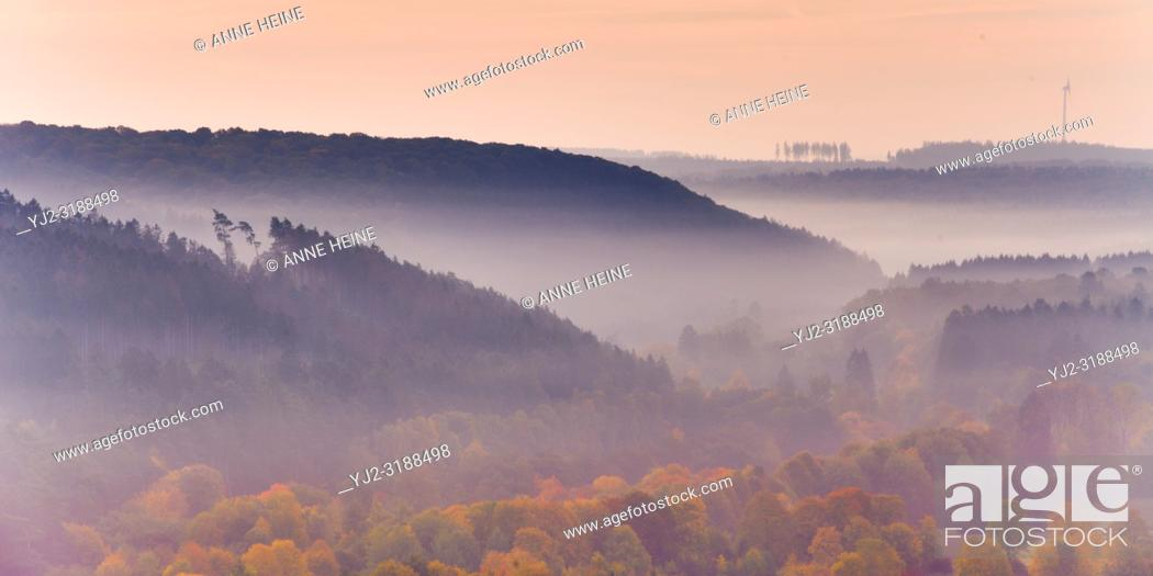 Stock Photo: Looking from Haarstrang into the Sauerland on a morning in fall. Rüthen, Soester Börde, Germany.