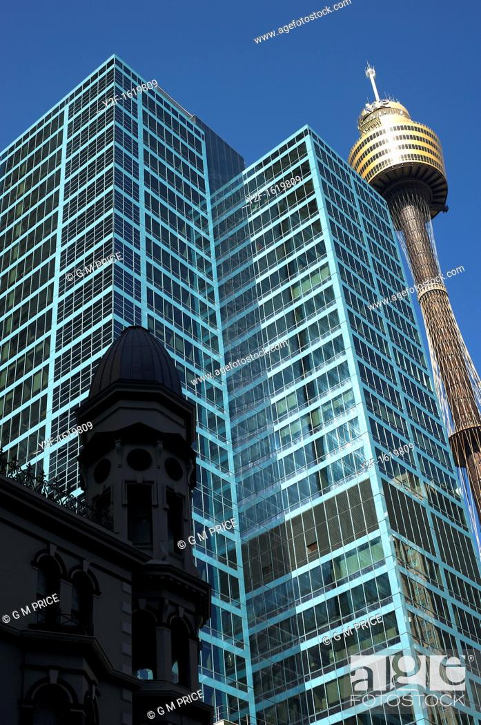 Stock Photo: three styles of architecture near Pitt Street, Sydney.
