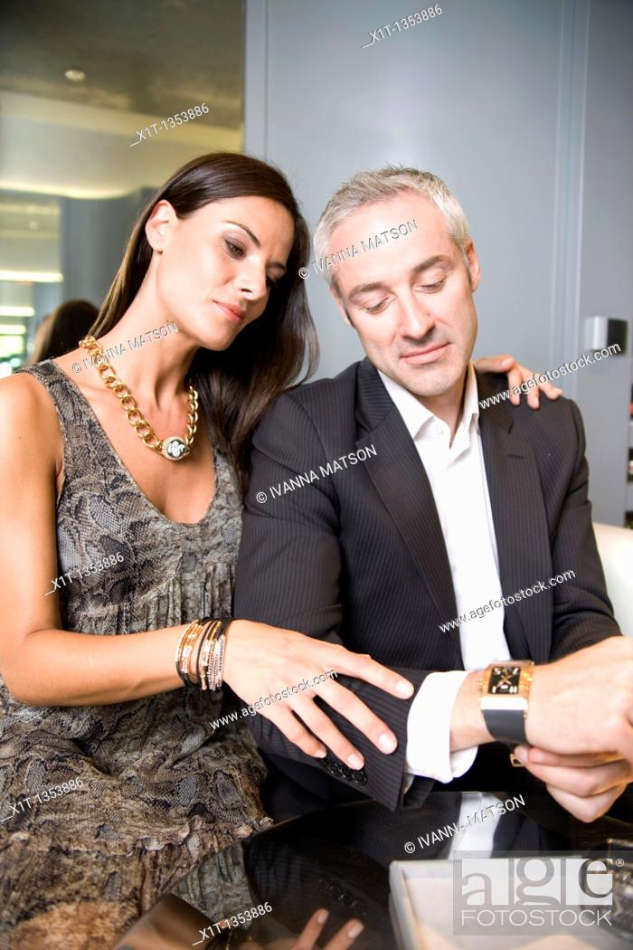 Stock Photo: Couple buying a wristwatch.