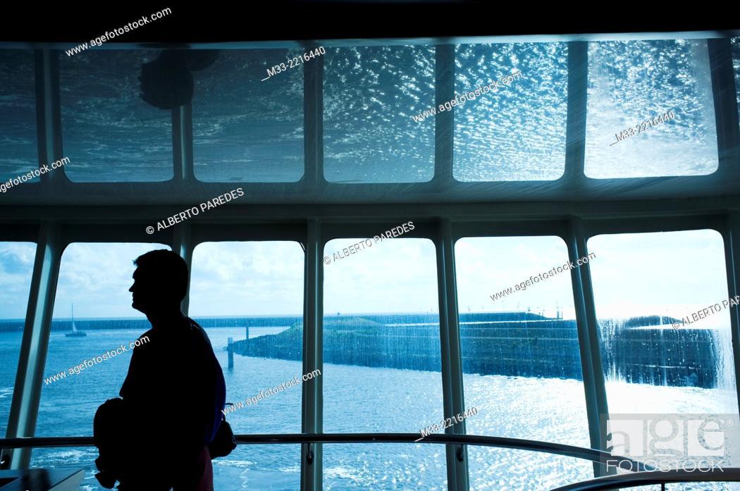 Stock Photo: Ferry, Friesland province (Fryslan), Netherlands.