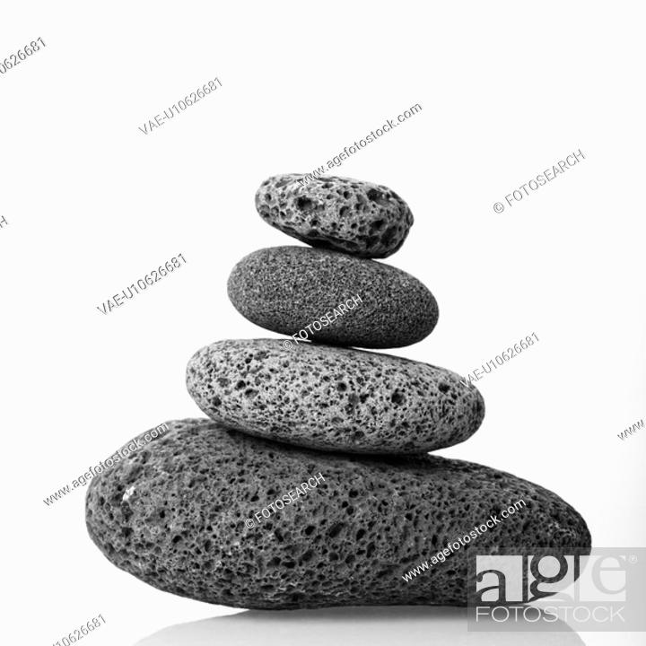 Stock Photo: Cairn made of smooth stones stacked together.