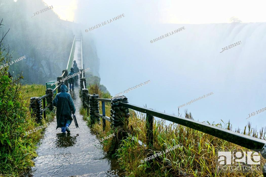 Stock Photo: The path and bridge to The Knife Edge. Victoria Falls. Zambia.