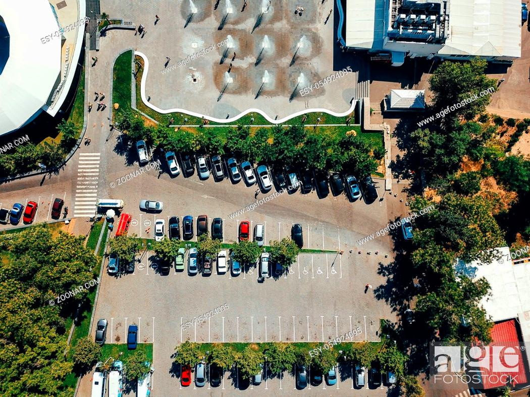 Stock Photo: Aerial photography of modern city parking.Car parking lot viewed from above.