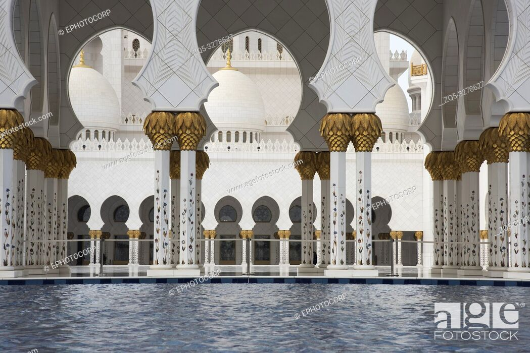 Stock Photo: Inside the Sheikh Zayed Grand Mosque, Abu Dhabi, UAE. Largest mosque in the country.