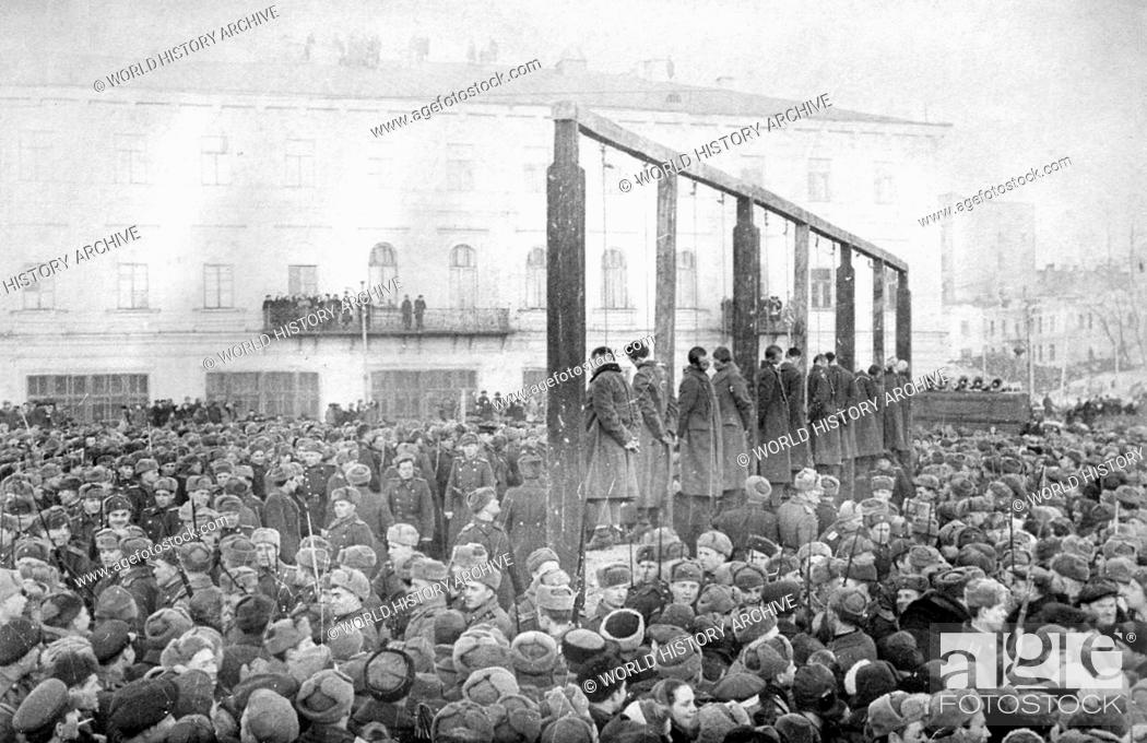 Stock Photo: Photograph of a public execution of German soldiers in Kiev. Dated 1946.
