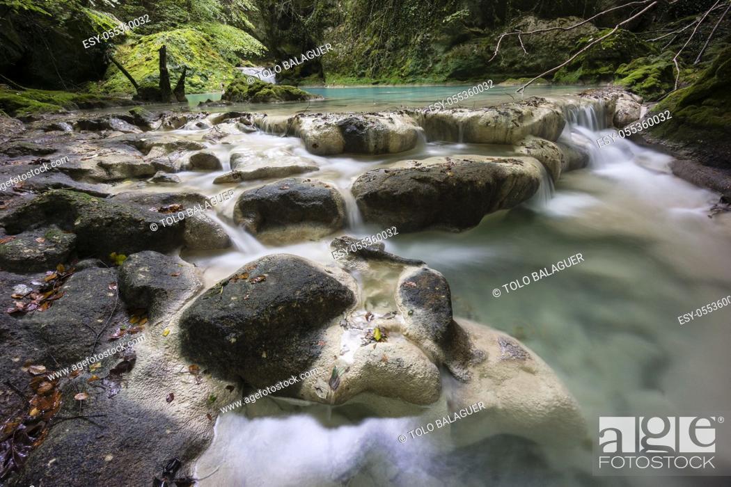 Stock Photo: nacedero del rio Urederra, parque natural de Urbasa-Andia, comunidad foral de Navarra, Spain.