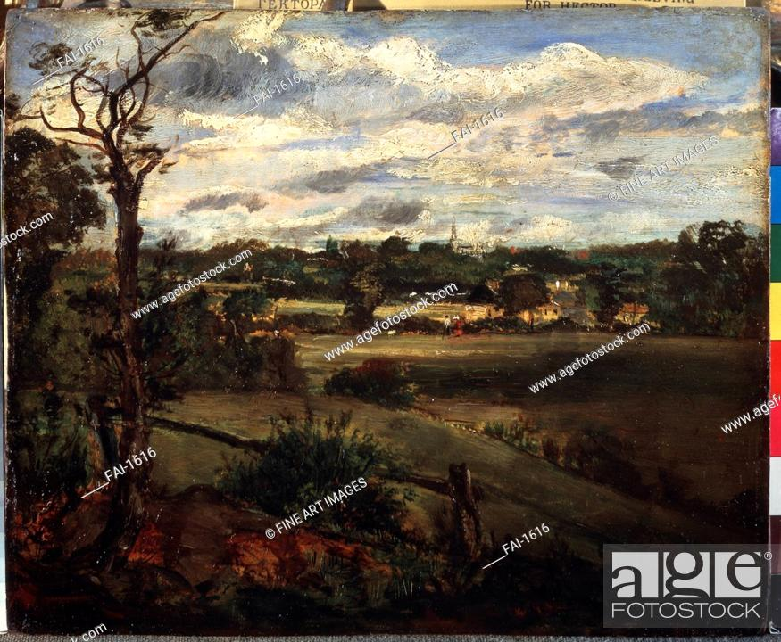 Stock Photo: View of Highgate from Hampstead Heath. Constable, John (1776-1837). Oil on canvas. Romanticism. State A. Pushkin Museum of Fine Arts, Moscow. 24x30,5.