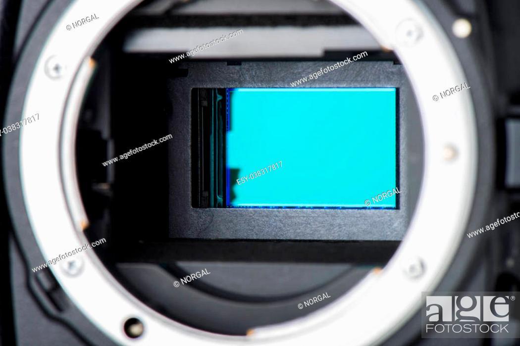 Stock Photo: closeup clean camera sensor (CCD or Cmos).