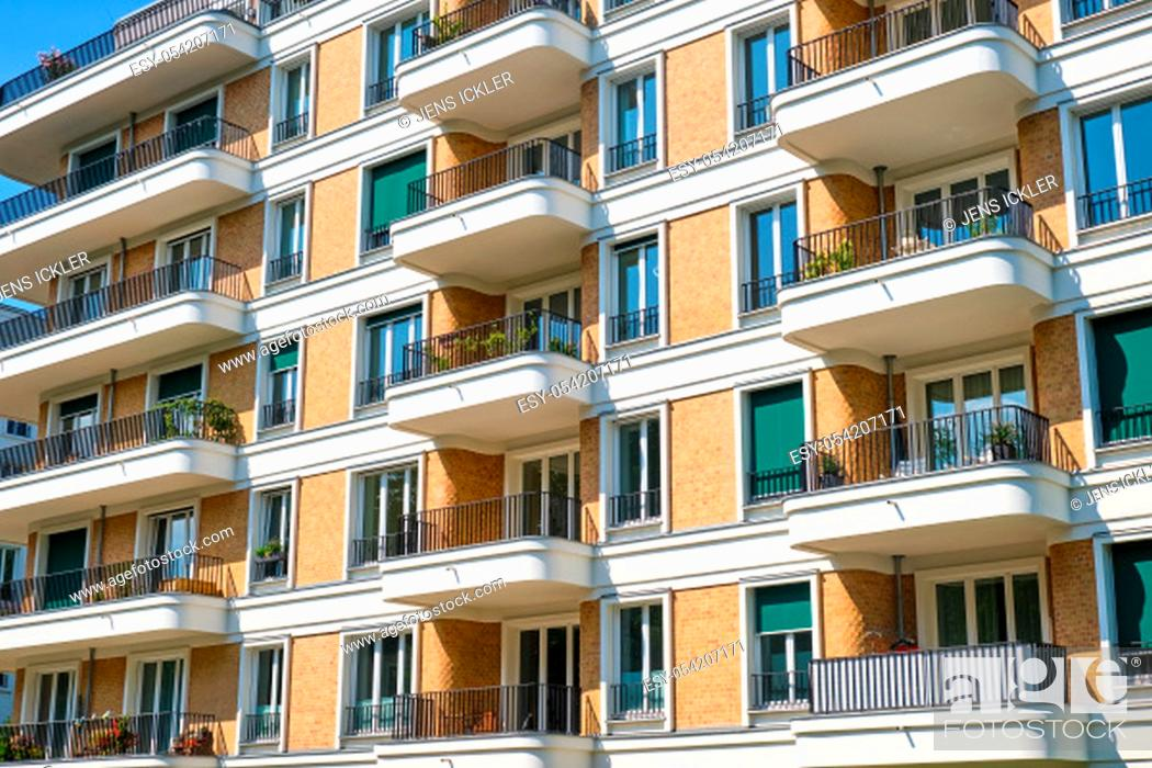 Stock Photo: Facade of a contemporary townhouse seen in Berlin, Germany.