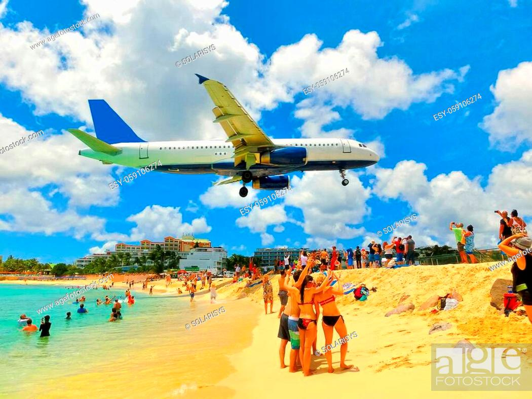 Stock Photo: The beach at Maho Bay is one of the world's premier planespotting destinations.
