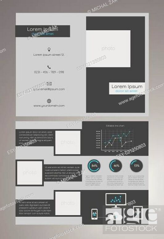 Stock Vector: Business bifold brochure template - modern, dark grey and blue design with editable line chart, round percentage charts and universal icons concerning.