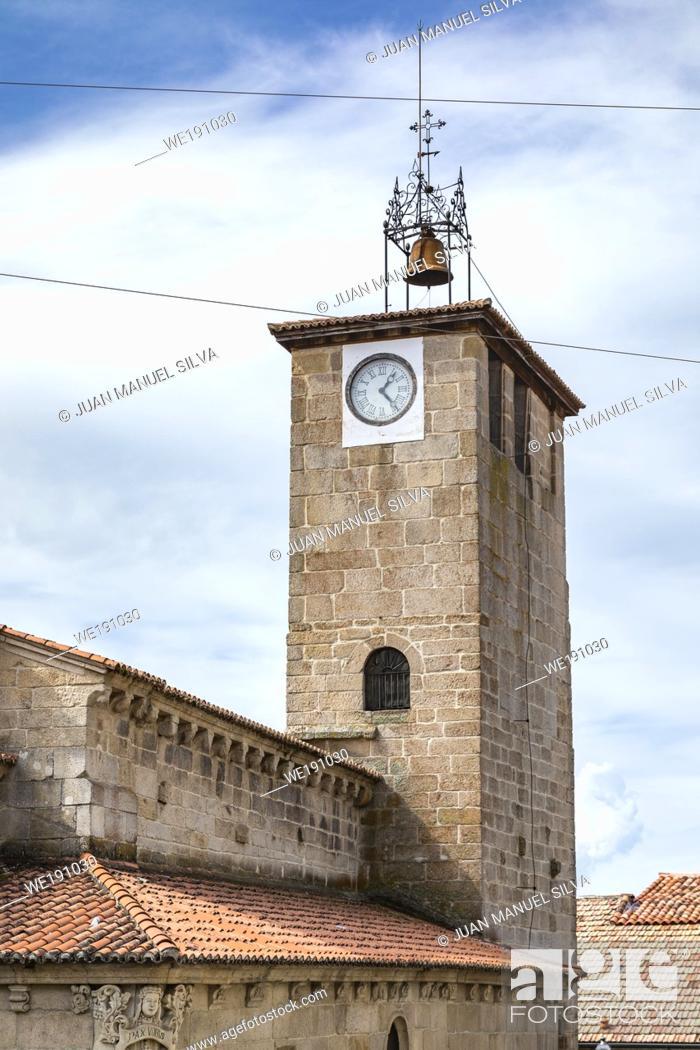 Stock Photo: Santiago church clock tower, Allariz, Ourense Province, Galicia, Spain.