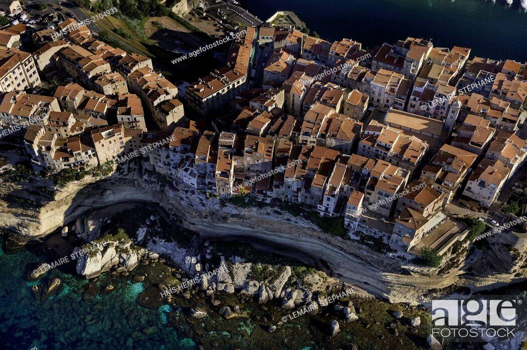 Stock Photo: France, Corse du Sud, Bonifacio, old town (aerial view).