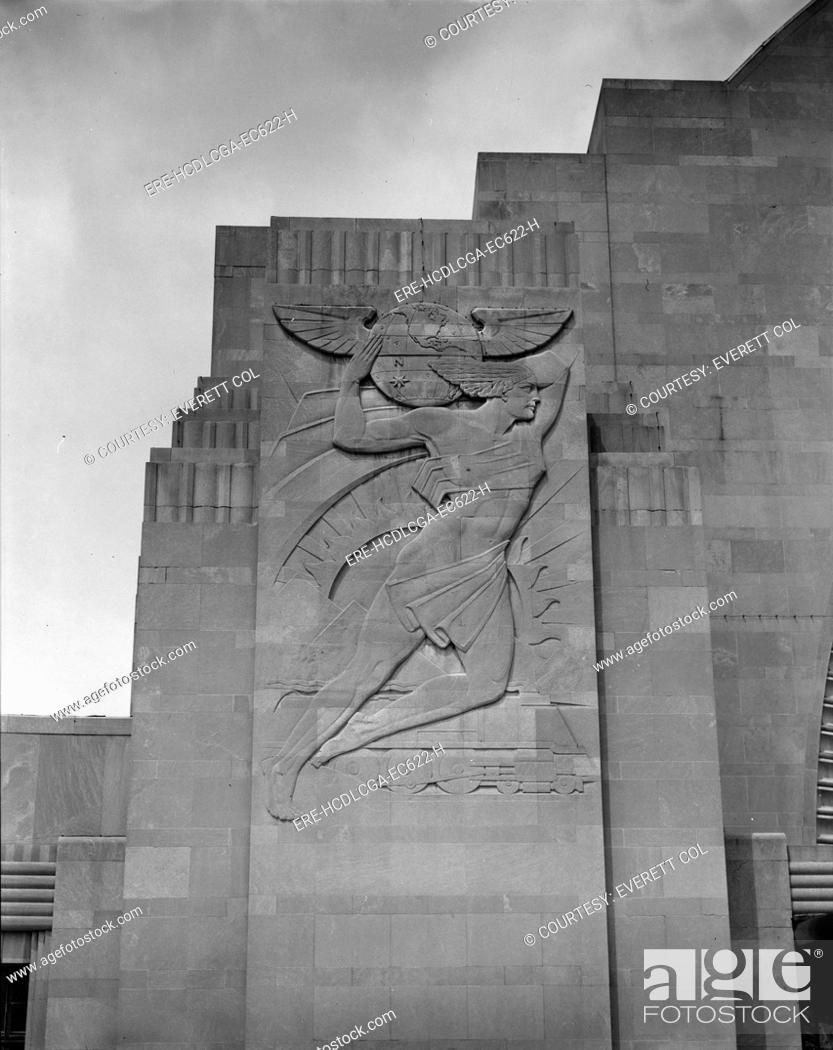 Stock Photo: Cincinnati Union Terminal, South bas relief, constructed in 1933, partially demolished in 1974, Cincinnati, Ohio, photograph circa early 1970s.