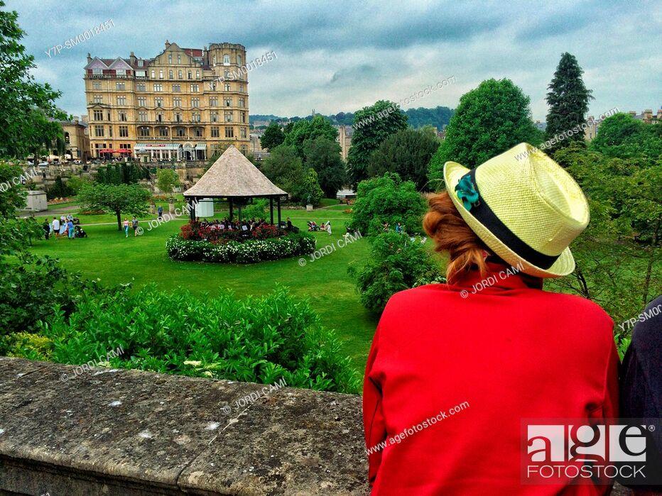 Stock Photo: Parade Gardens and the Empire Hotel building, Bath. Somerset. England. United Kingdom.
