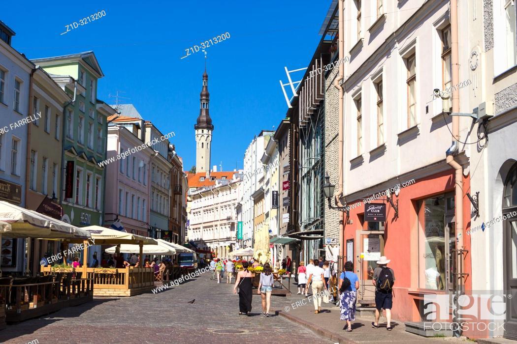 Stock Photo: Shopping street of the old city. Tallin, Estonia.
