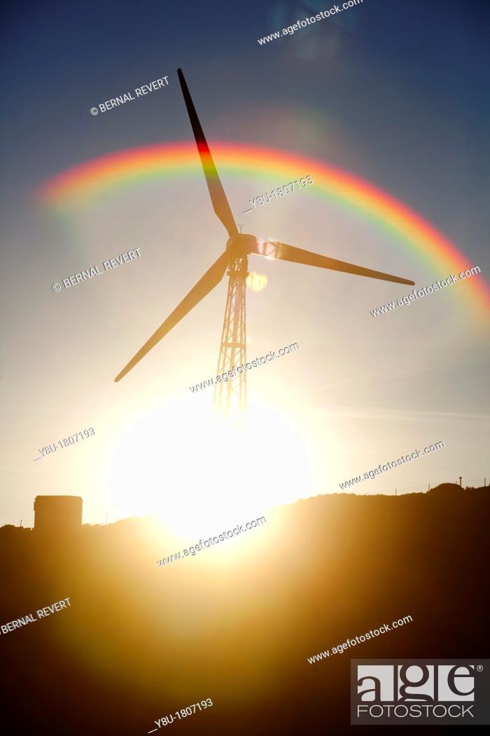 Stock Photo: Windmill at dusk in Tarifa.