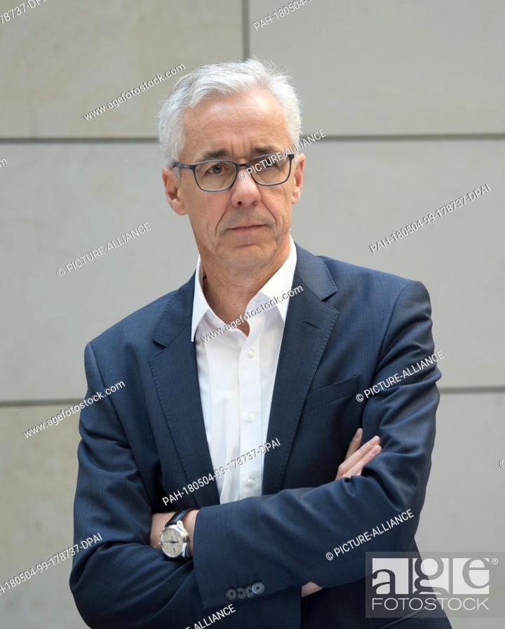 Stock Photo: 04 May 2018, Germany, Berlin: Joerg Simon, CEO of the Berliner water utilities, during a press conference on the formation of the Berlin Rainwater Agency.