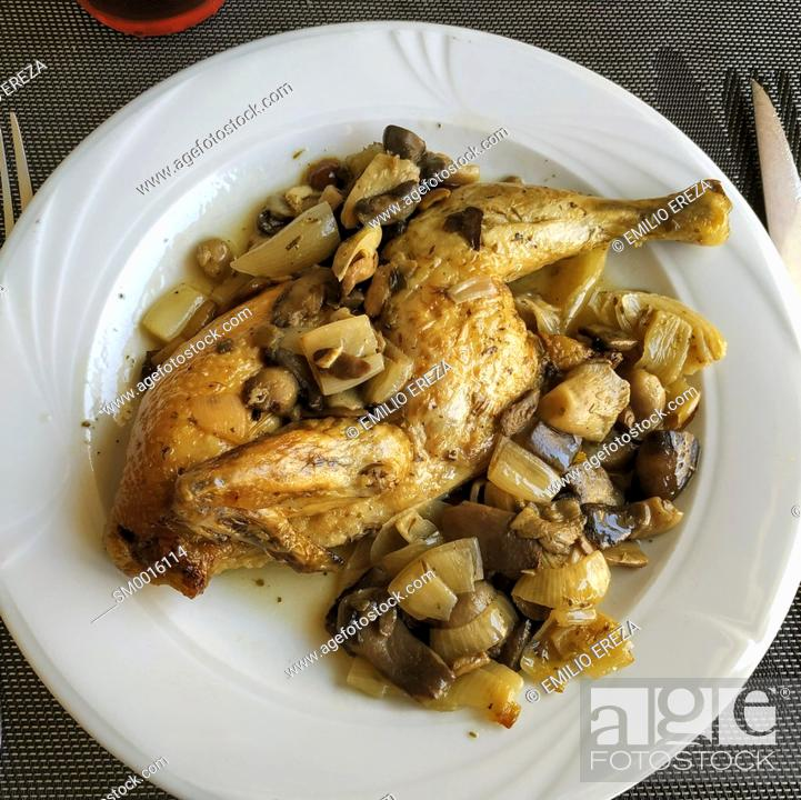 Stock Photo: Chicken with mushrooms and onions.