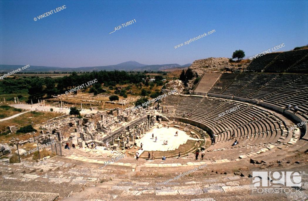 Stock Photo: Turkey - Mediterranean Coast - Izmir Region - Selcuk - Epheze - The Theatre.