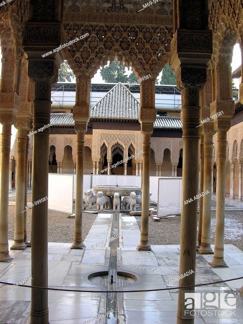 Stock Photo: Courtyard of the Lions, Alhambra. Granada. Spain.