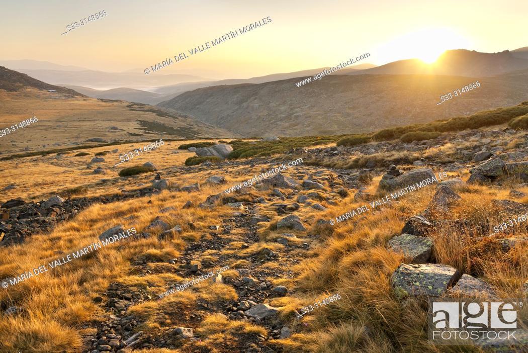 Stock Photo: Sunrise in Prado Puerto. Sierra de Gredos. Avila. Spain.