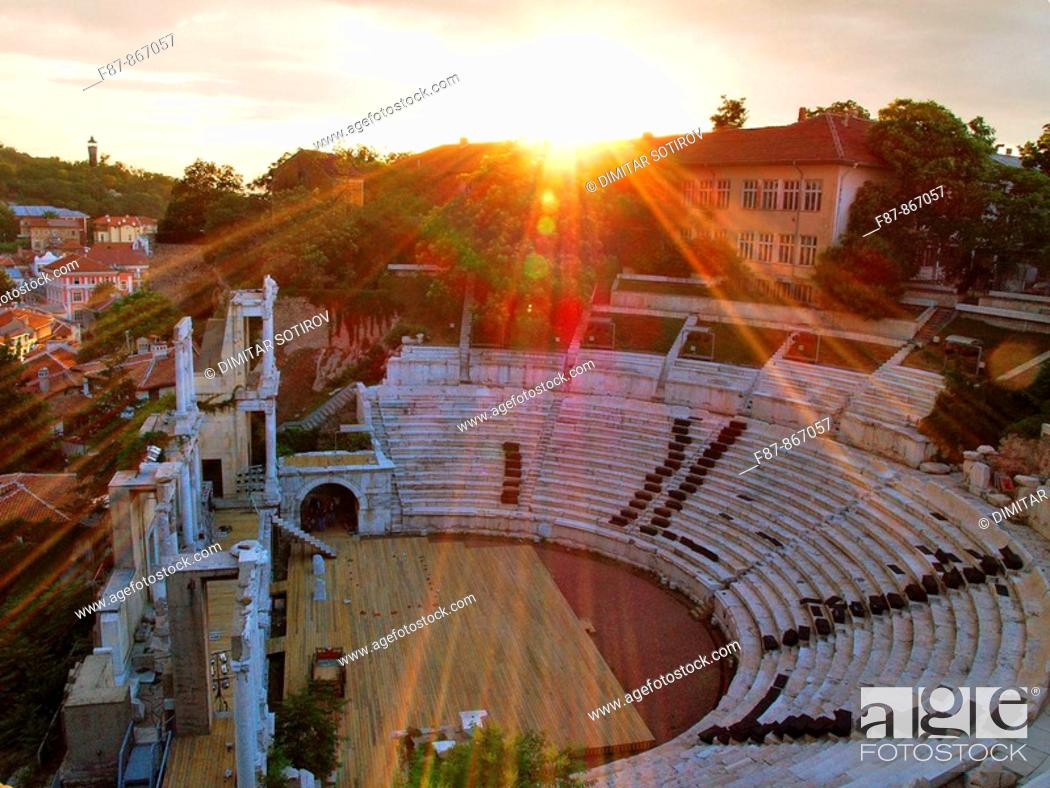 Stock Photo: Roman Amphitheatre, Plovdiv, Bulgaria, Europe.