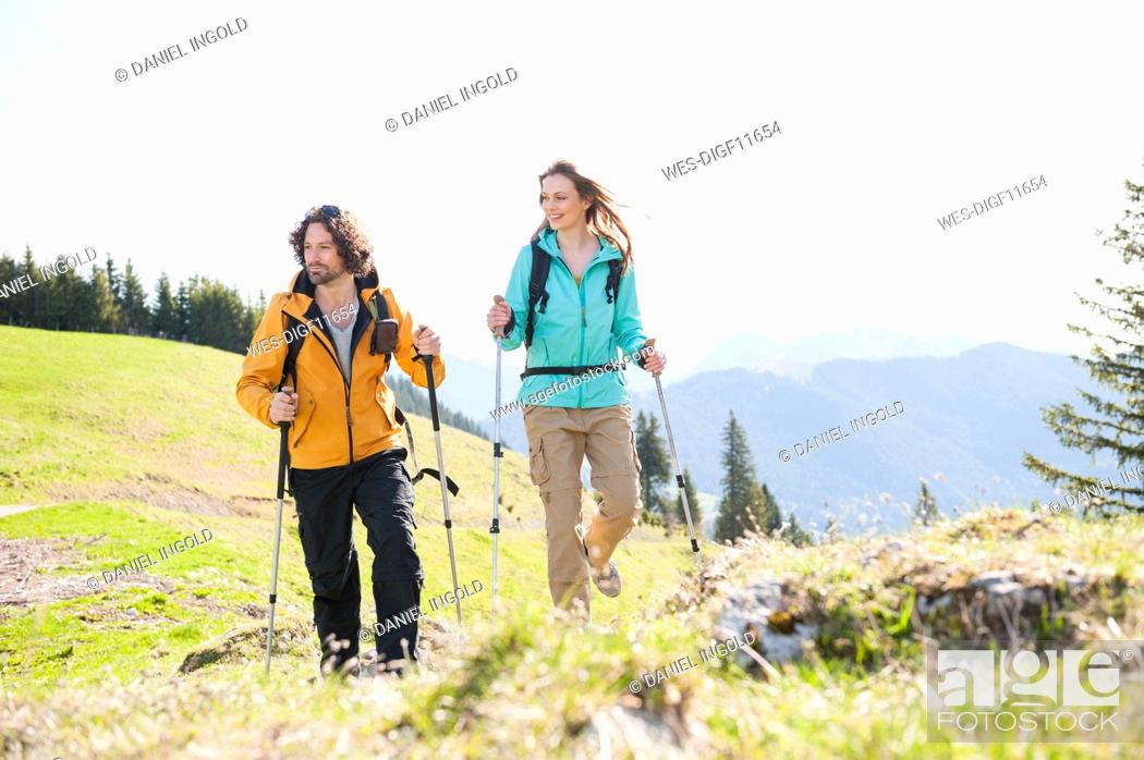Stock Photo: Hiking couple, Wallberg, Bavaria, Germany.