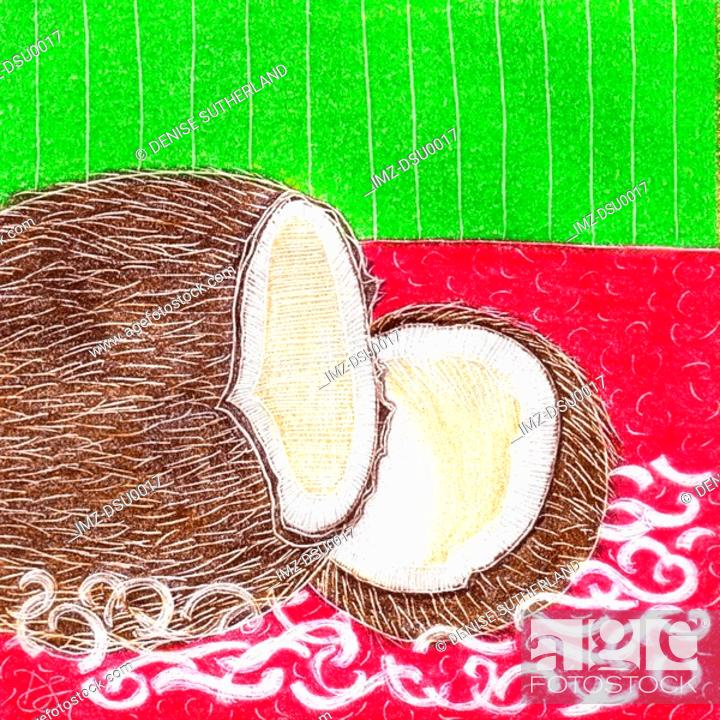 Stock Photo: A picture of a halved fresh coconut.