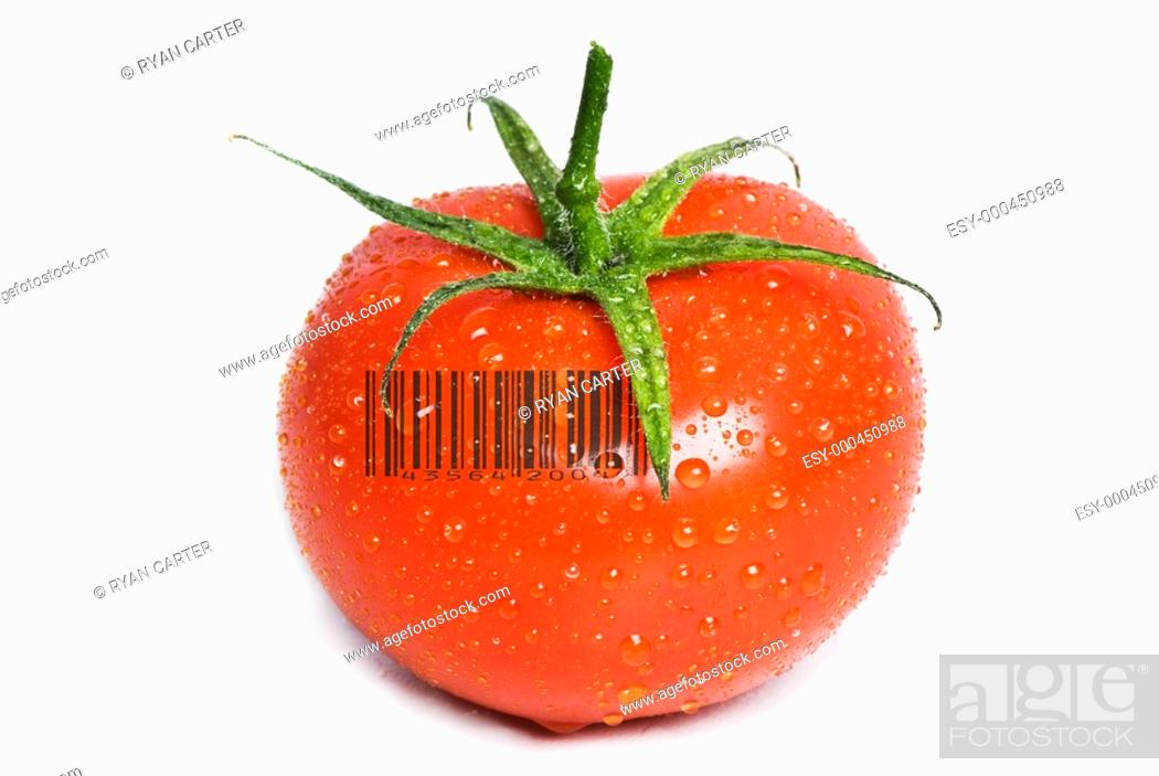 Stock Photo: Isolated Wet Tomato.