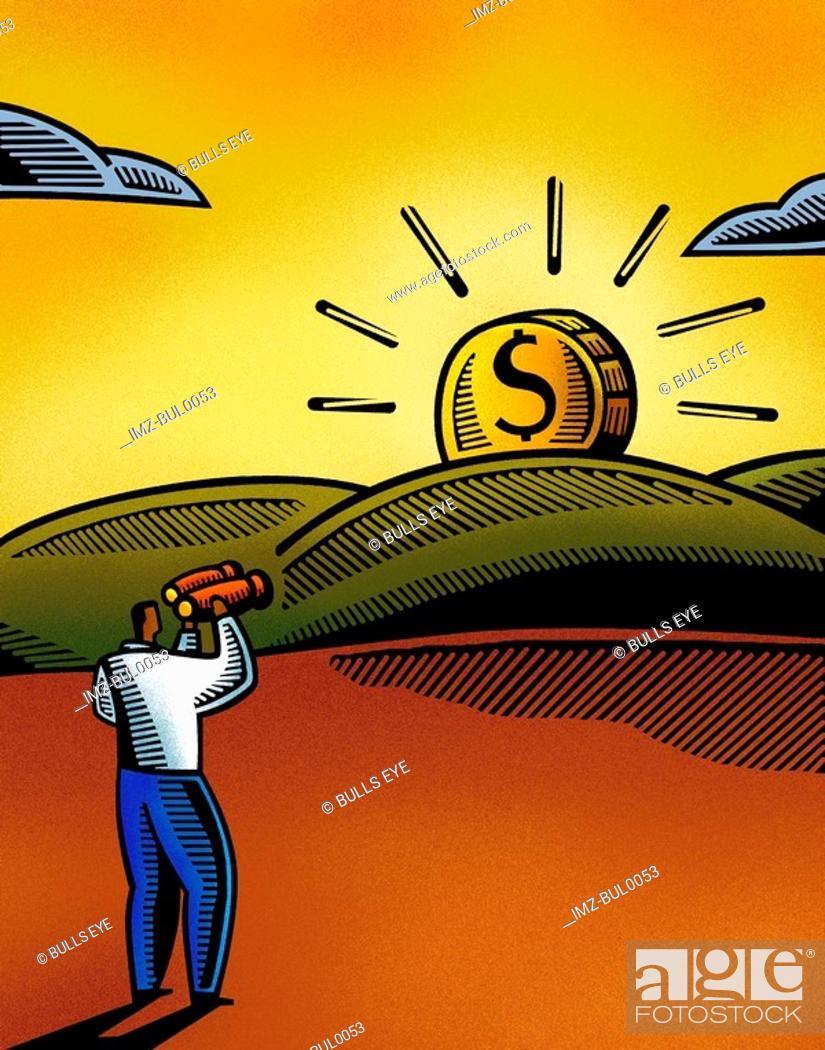 Stock Photo: A man looking at a dollar sunset through his binoculars.