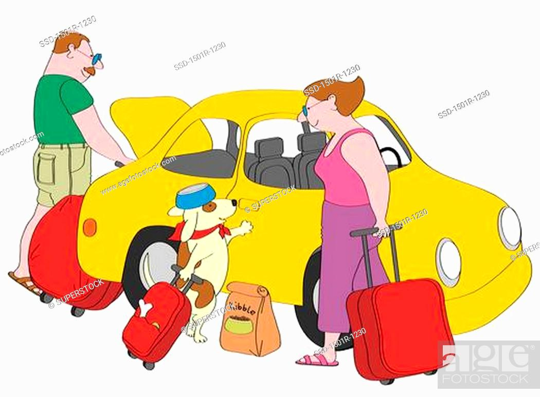 Stock Photo: Couple and dog with suitcases standing next to yellow car, illustration.