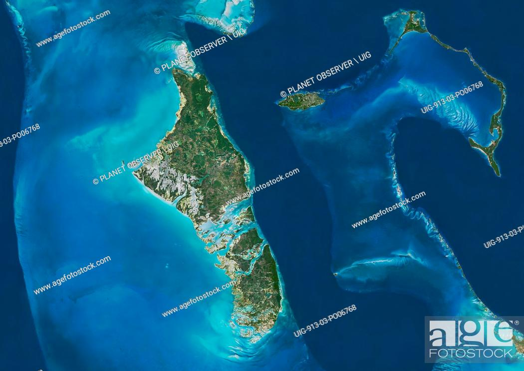 Stock Photo: Satellite view of Andros, New Providence and Eleuthera Islands, Bahamas. New Providence is the most populous island in the Bahamas and it houses the capital.