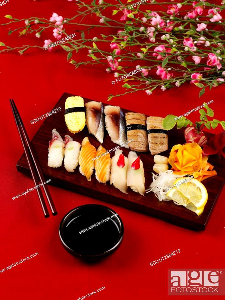 Stock Photo: soy sauce, plate, chopsticks, decoration, food styling, salmon sushi, sushi plate.