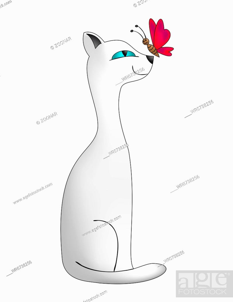 Stock Photo: Cat and butterfly.