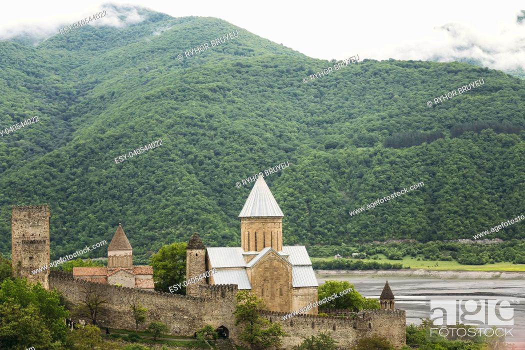 Stock Photo: Church In Castle Complex Ananuri In Georgia, About 72 Kilometres From Tbilisi. Famous Landmark. Cultural Historic Heritage. Popular Place.