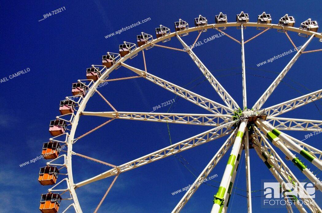 Stock Photo: Big wheel at Feria de Abril (April fair), Barcelona. Catalonia, Spain.