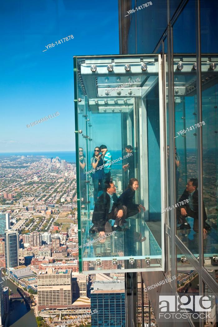 Tourists In The All Glass Balcony Skydeck Observation Deck View The Chicago Skyline103rd Floor Of Stock Photo Picture And Rights Managed Image Pic Yr6 1417878 Agefotostock