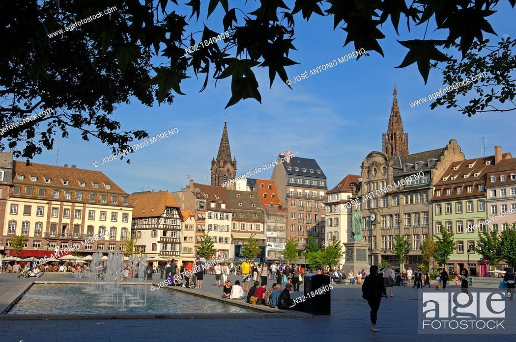Stock Photo: Strasbourg, Kleber square, UNESCO world heritage site, Place Kleber, Alsace, Bas Rhin, France, Europe.