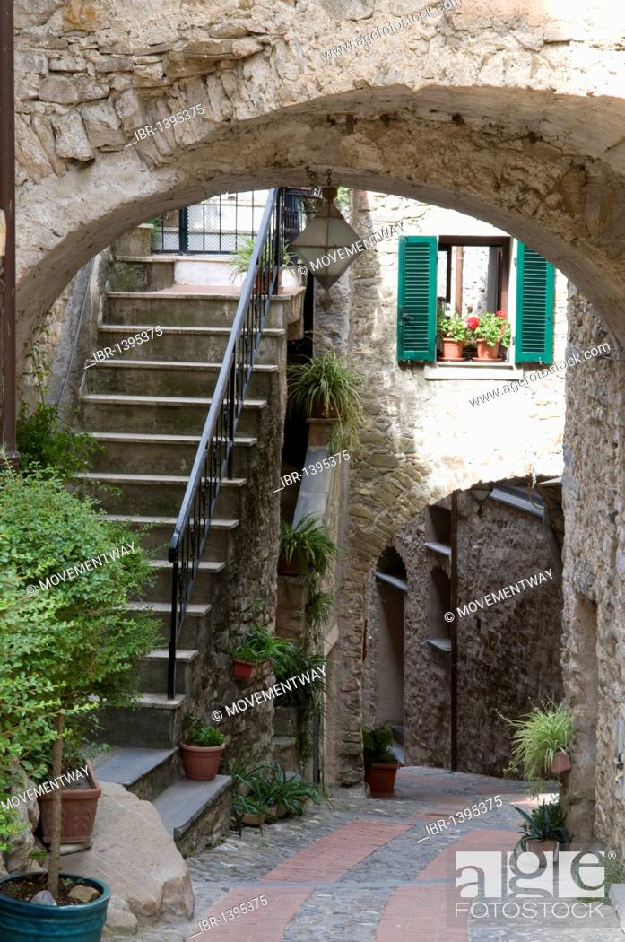 Stock Photo: Alleyway in the historic town, mountain village of Dolceacqua, Nervia Valley, Riviera, Liguria, Italy, Europe.