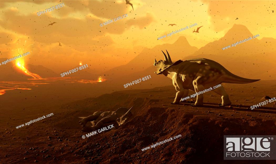 Stock Photo: Artwork of a triceratops dinosaur surveying a volcanic landscape. This depicts a scene at the end of the Cretaceous period in Earth's history.
